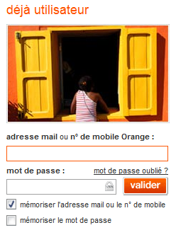 adresse mail ou n° de mobile Orange